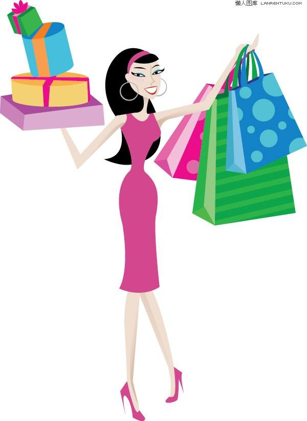 女性 矢量/EPS格式,含JPG预览图,关键字:矢量人物,女性,女人,购物,shop...