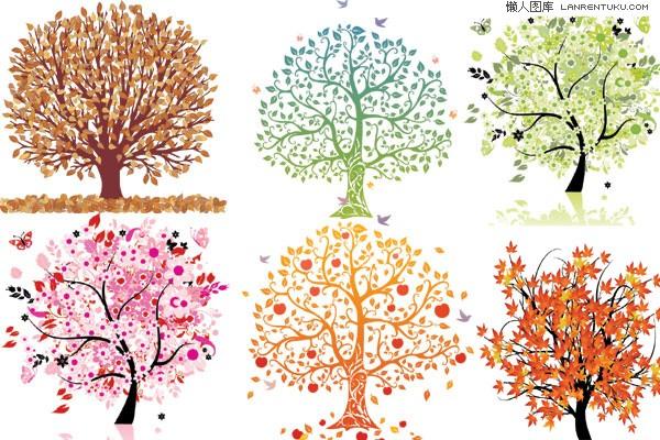 矢量图库素材_六款精美的印象树矢量素材_矢量植物_懒人图库