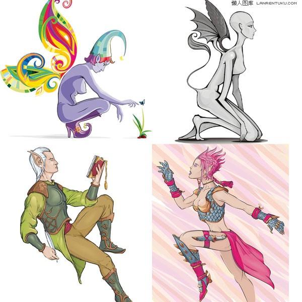 四款人物中的素材漫画矢量漫画钢笔精灵图片