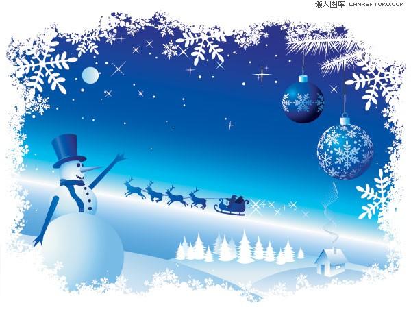 Голубой фон со снежинками