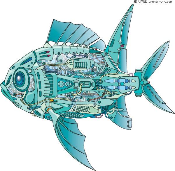 机械�9b�9�^�� _机器鱼的内部构造矢量素材