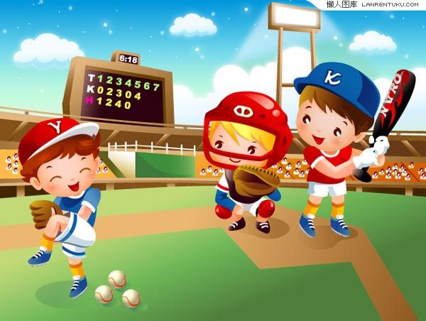 可爱卡通棒球运动儿童矢量素材_体育运动_懒人图库图片