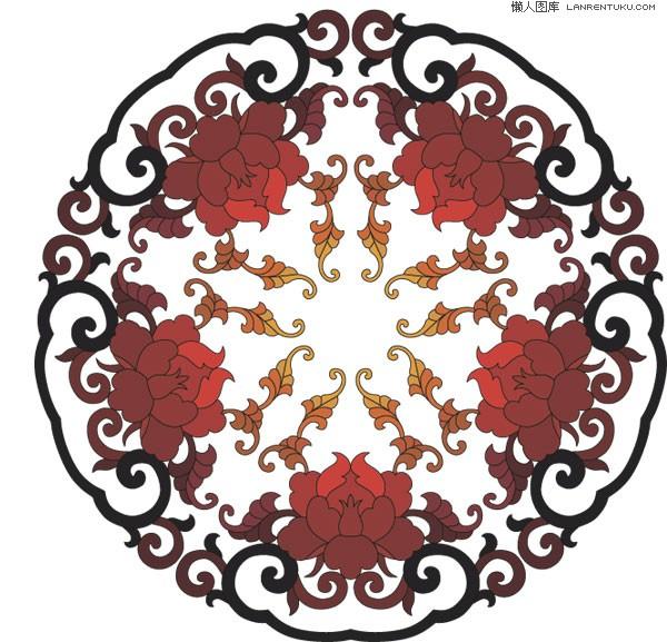 一款中国传统富贵花圆形花纹矢量素材图片