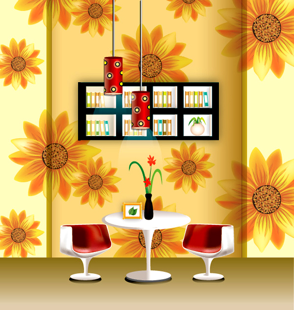 一款时尚品味家居装饰设计矢量素材
