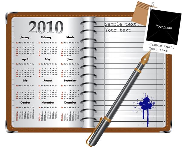 带有日历的记事本矢量素材图片