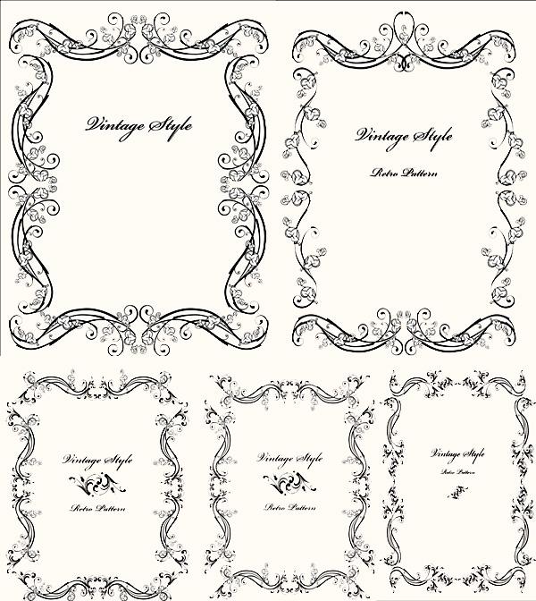 eps格式,含jpg预览图,关键字:矢量花纹,花边,边框,欧式风格图片