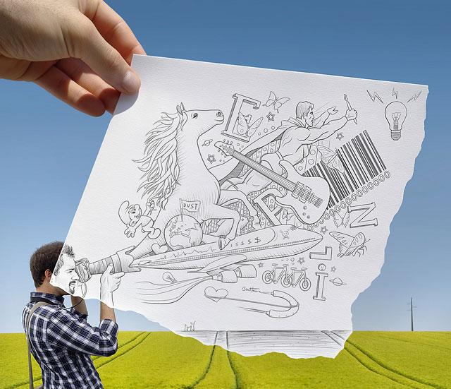 铅笔画与照片融合作品
