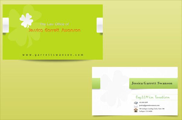 绿色白色搭配设计名片