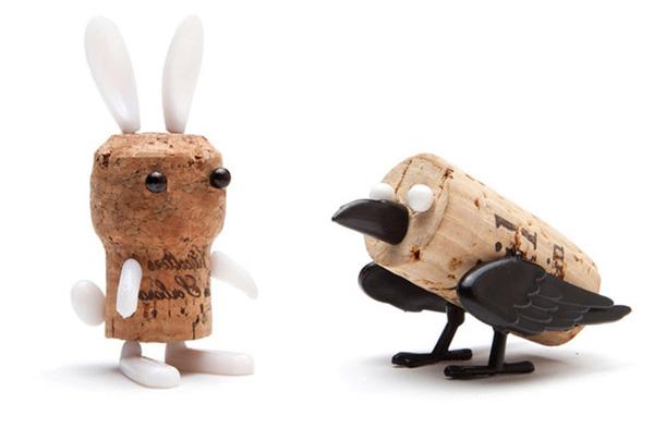 动物造型红酒塞兔子和小鸟
