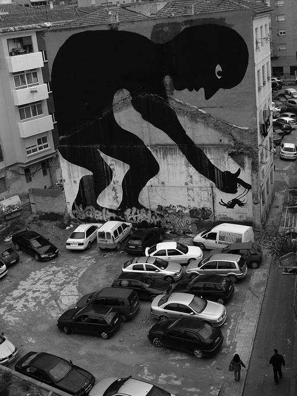 国外街头绘画高大抽象的人