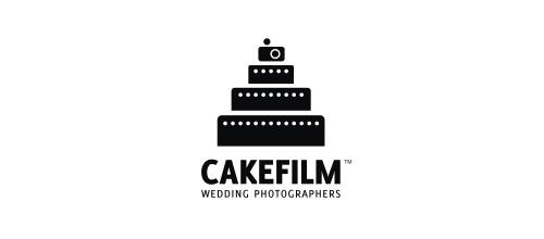 蛋糕题材标志设计黑白风格