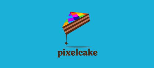 蛋糕题材标志设计彩色三明治