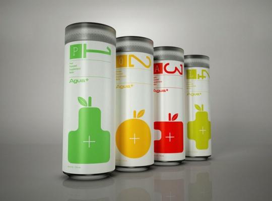 四色果汁易拉罐饮品包装设计
