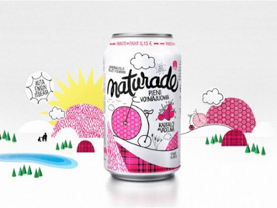 粉红色易拉罐饮品包装设计