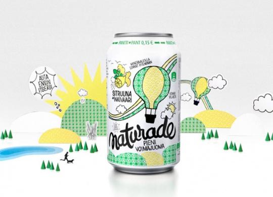绿色易拉罐饮品包装设计
