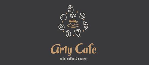 灰色系咖啡题材标志设计