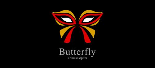 艳丽红色蝴蝶题材标志设计欣赏