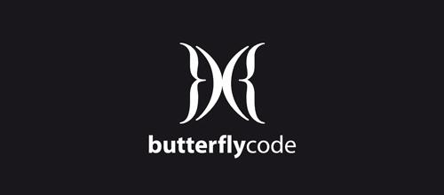 黑白风格蝴蝶题材标志设计欣赏