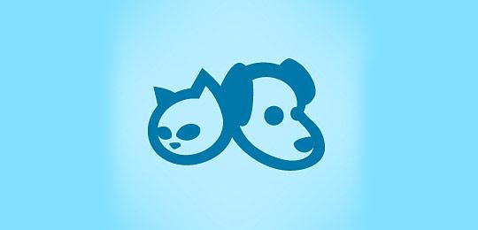 淡蓝色猫科动物标志设计