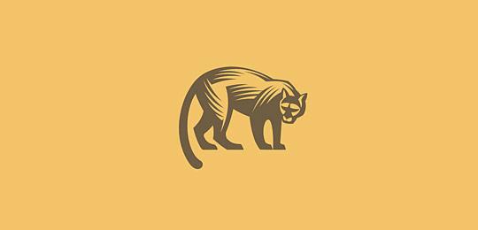 米黄色猫科动物标志设计