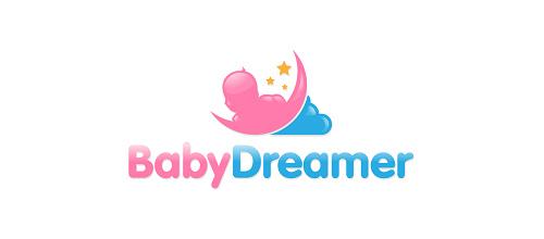 Baby题材标志设计粉蓝色