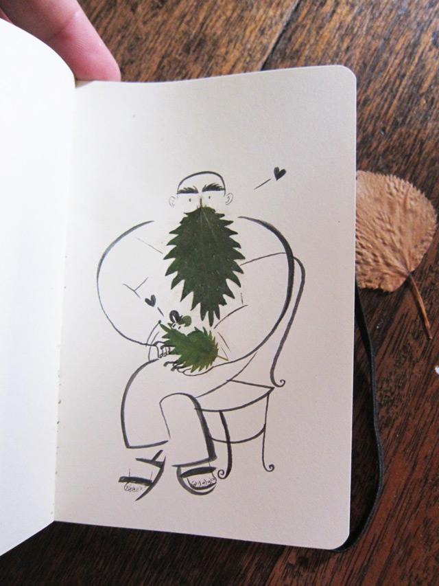 创意树叶作画