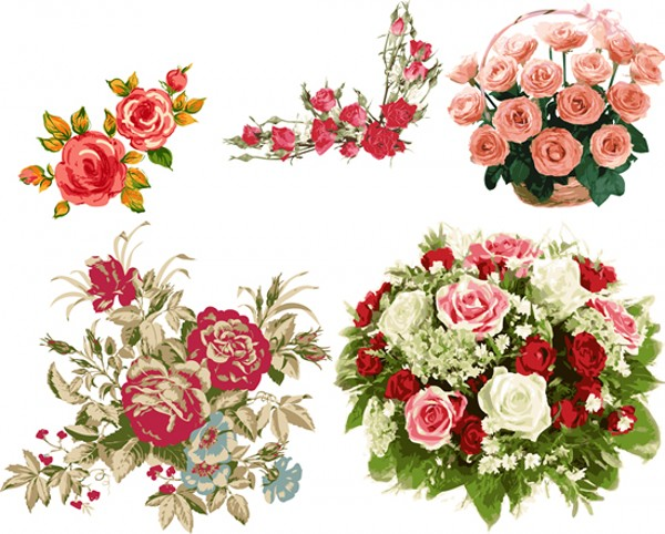 细腻彩绘玫瑰花束矢量素材 矢量植物 懒人图库