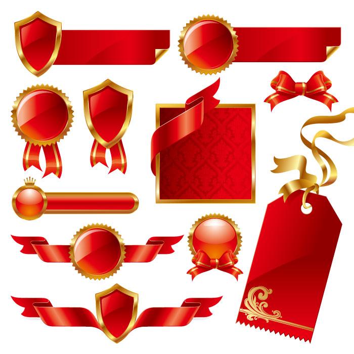 华丽精美红色丝带吊牌矢量素材