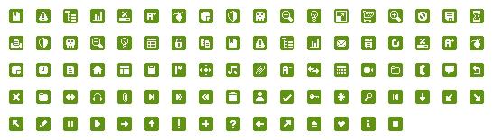 75个绿色免费网页小图标