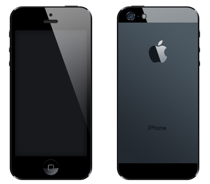 黑色iPhone 5 PSD素材图片