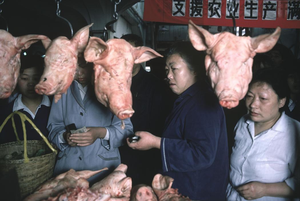 1979年,中国上海市,菜市场摊位前悬挂的猪头