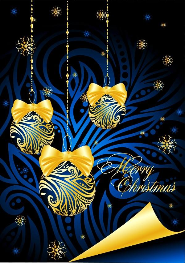 华丽圣诞吊球矢量素材