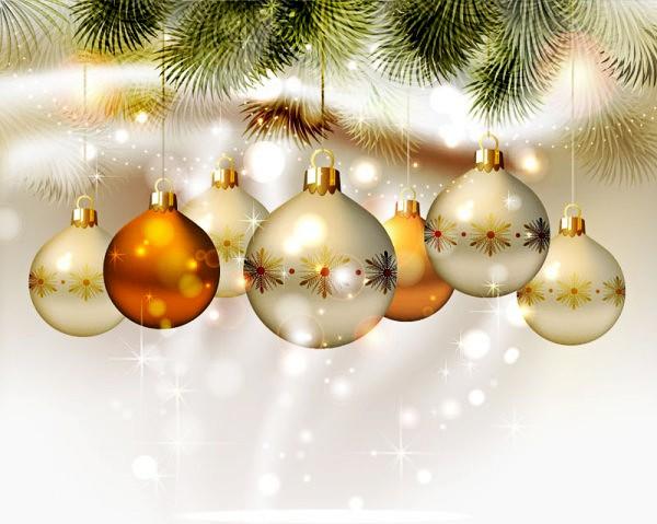 银色圣诞吊球矢量素材