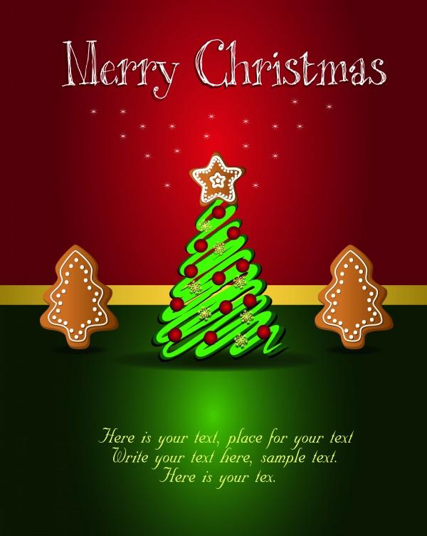 美味饼干圣诞树装饰矢量素材