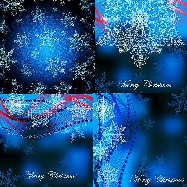 魅力蓝雪花背景矢量素材