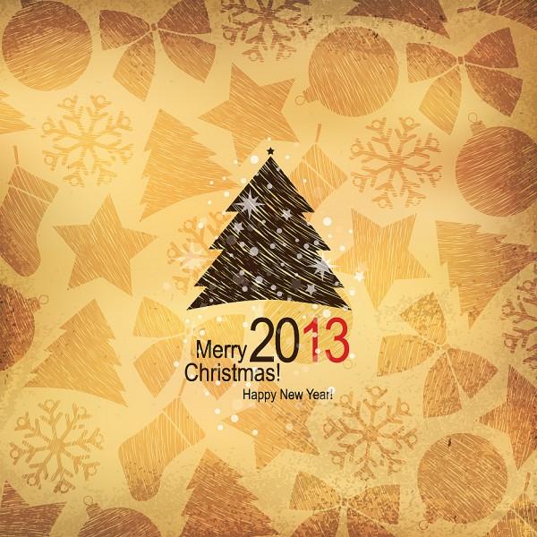 可爱木纹圣诞树矢量素材