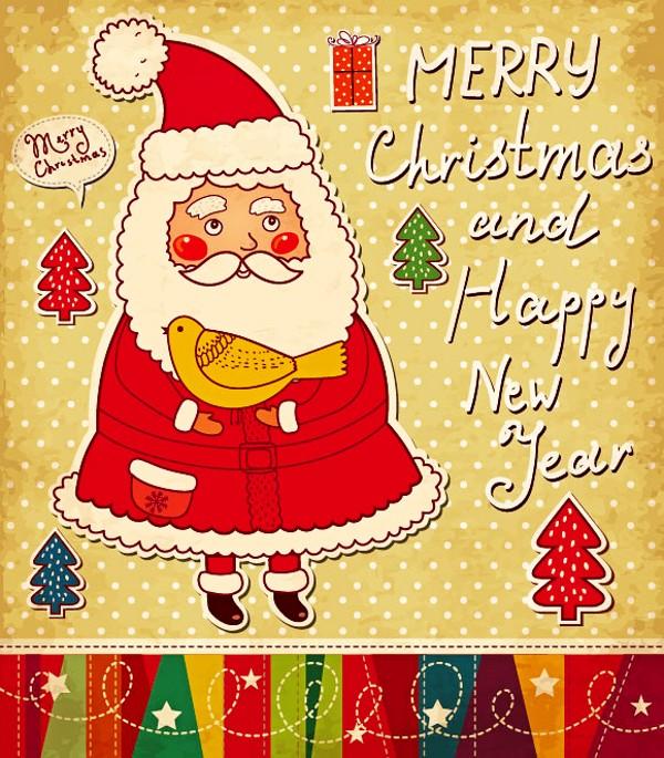 圣诞卡通标贴背景矢量素材