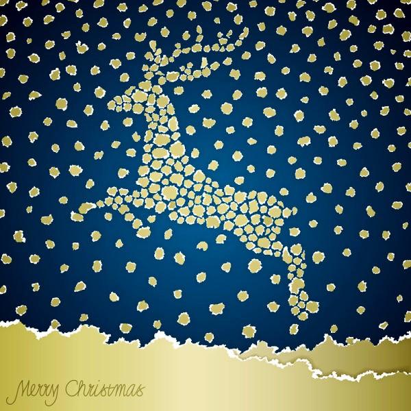雪花圣诞麋鹿矢量素材