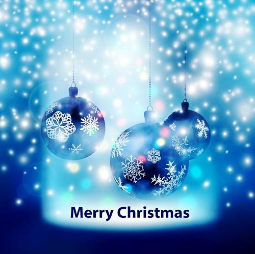 蓝色圣诞吊球矢量素材