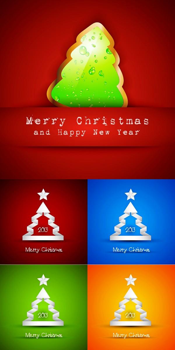 可爱创意圣诞树矢量素材