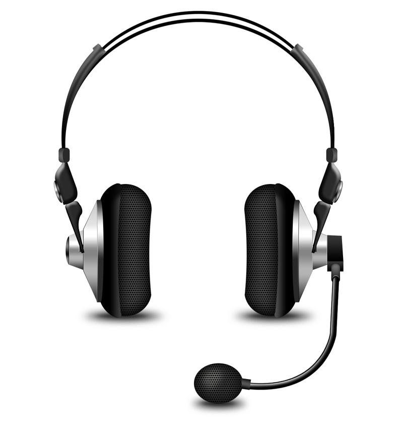 带话筒头戴式耳机psd素材