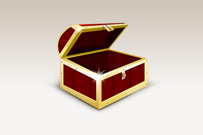 金光闪闪的宝盒psd素材