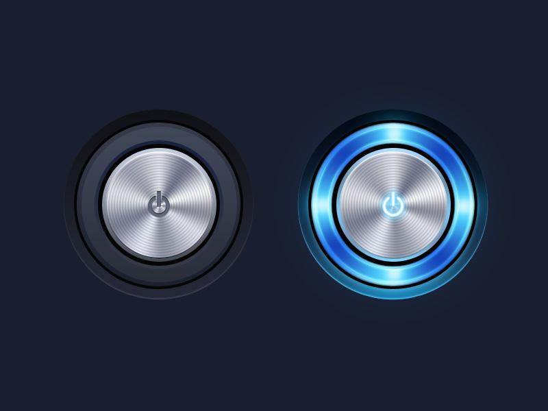 金属质感开关按钮PSD素材