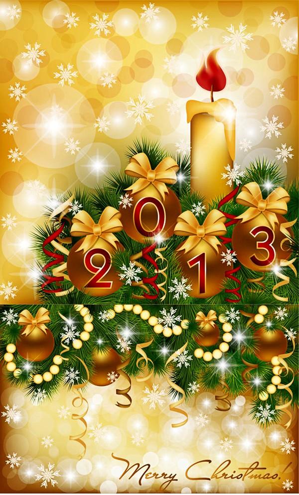 2013金色圣诞烛光矢量素材