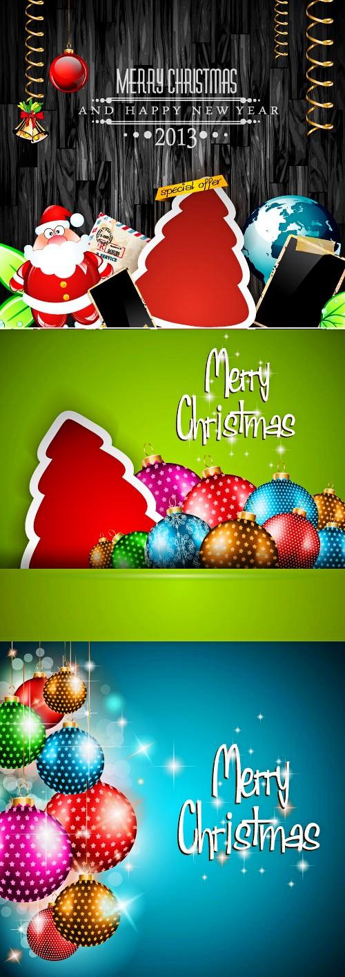 圣诞节精美贺卡矢量素材