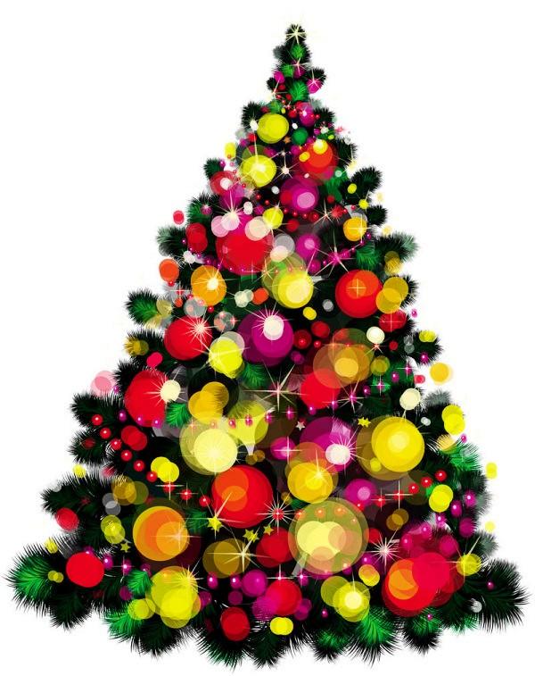 多彩圣诞树矢量素材