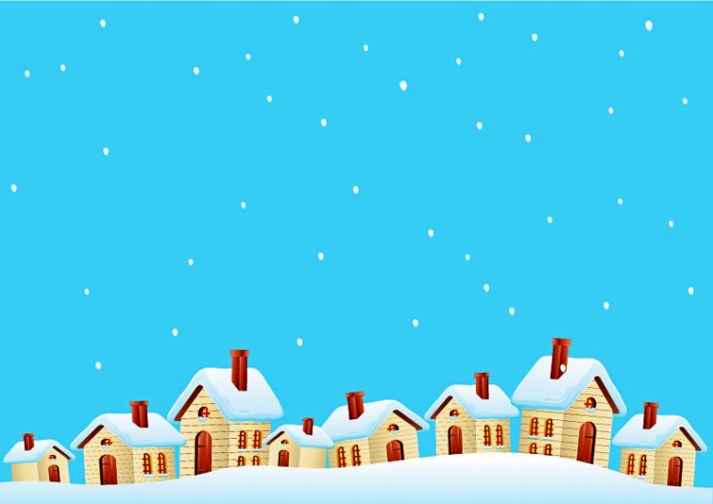 雪中小屋矢量素材