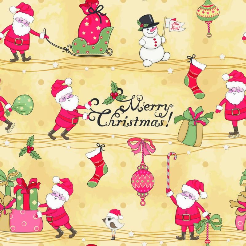 可爱圣诞老人背景矢量素材