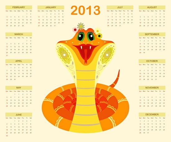 2013卡通蛇年年历矢量素材