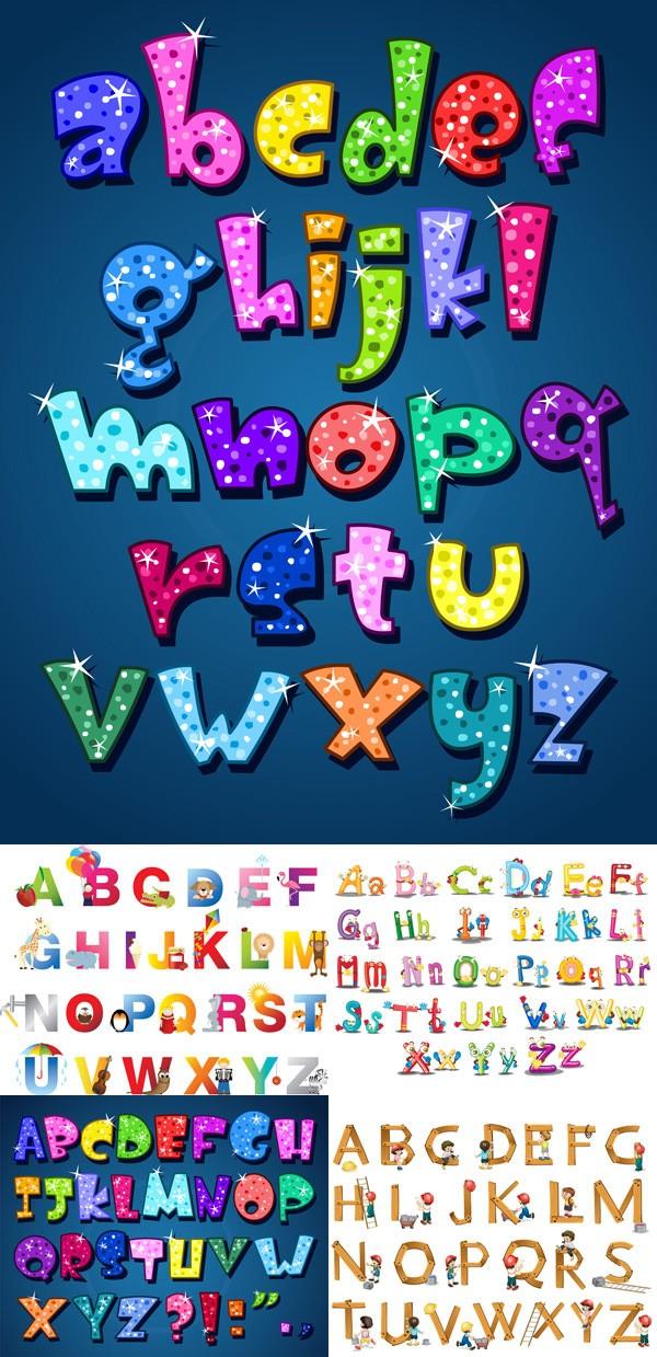 可爱彩色卡通字母矢量素材
